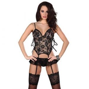 Corsetti Eithne Black Basque Set