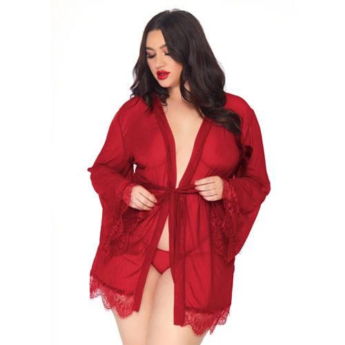 Leg Avenue Burgundy Sheer Robe Plus Size UK 18 to 22
