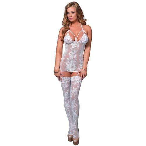 Leg Avenue Lace Suspender Bodystocking UK 8 to 14