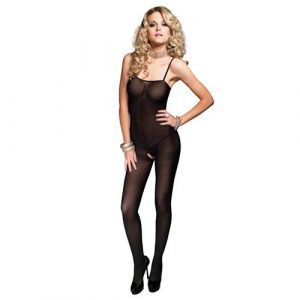 Leg Avenue Open Crotch Opaque Bodystocking UK 8 to 14