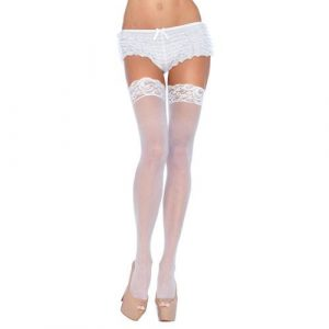 Leg Avenue Plus Size Sheer Thigh Highs White UK 16 to 18