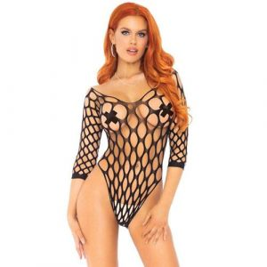 Leg Avenue Pothole Fishnet Bodysuit UK 8 To 14