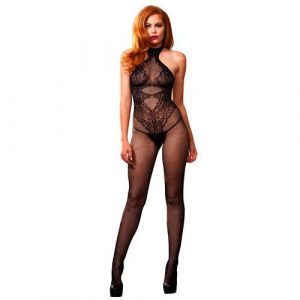 Leg Avenue Seamless Halter Body Stocking Black UK 8 to 14