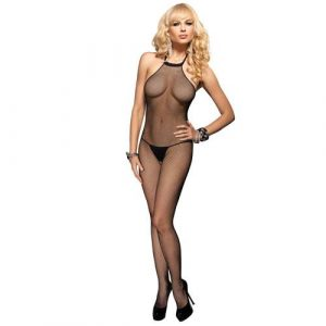 Leg Avenue Seamless High Neck Halter Bodystocking UK 8 to 14