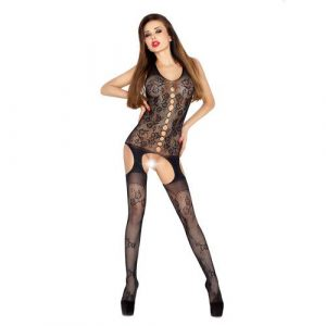 Passion Open Crotch Flower Vest Body Stocking Black