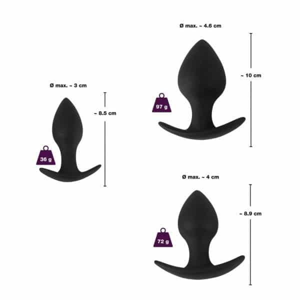 Black Velvet Silicone Three Piece Butt Plug Anal Training Set Dimensions
