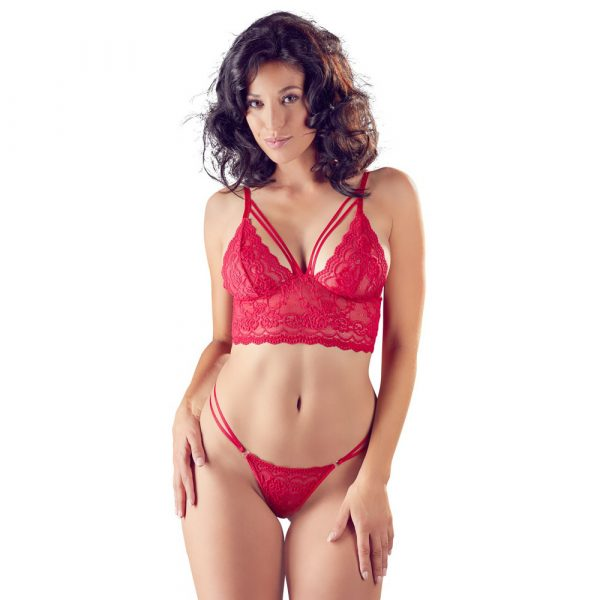 Cottelli Red Lace Bra And String 1