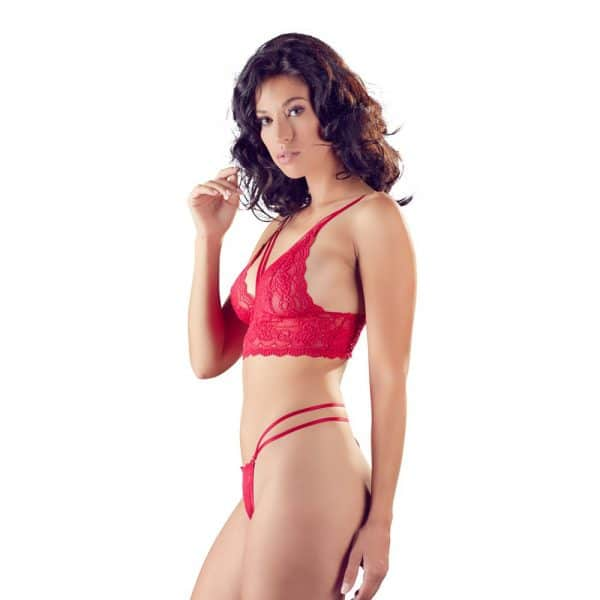 Cottelli Red Lace Bra And String 2