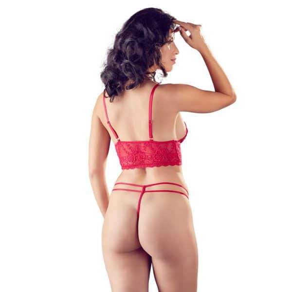 Cottelli Red Lace Bra And String 3