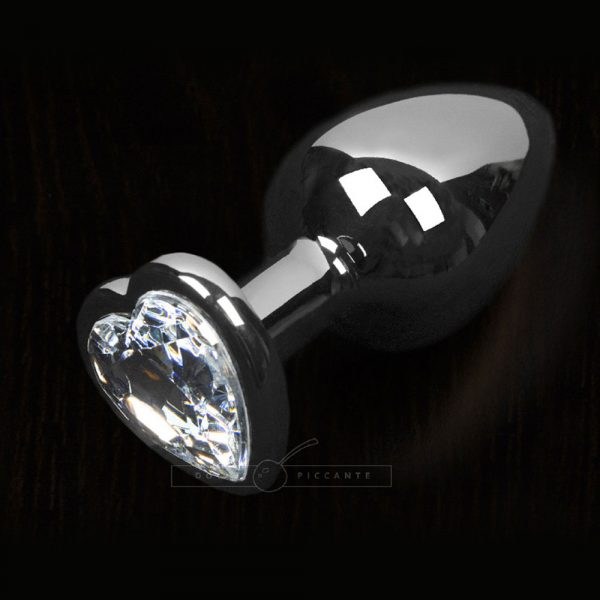 Dolce Piccante Small Jewelled Anal Plug (Clear Heart Gem)