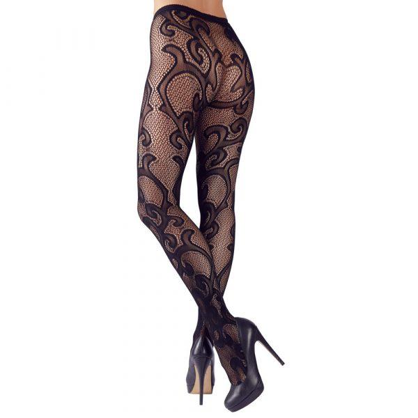 Cottelli Legwear Lacey Tights Black UK Size 8-12 2