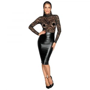 Noir Black Lace and Wet Look Pencil Dress