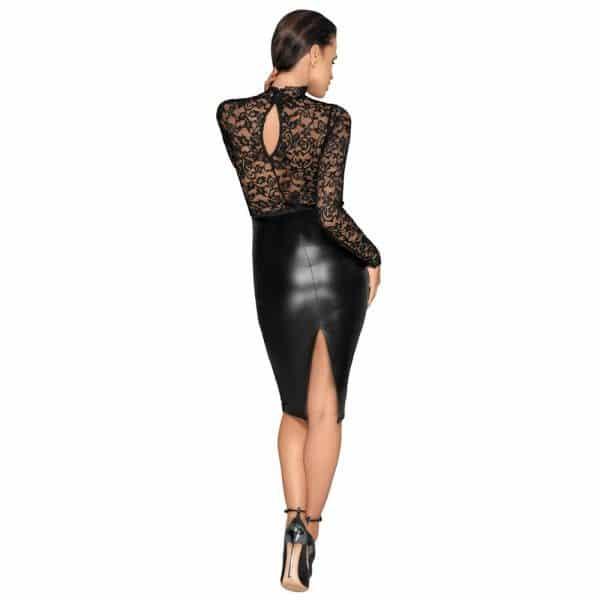 Noir Black Lace and Wet Look Pencil Dress Back