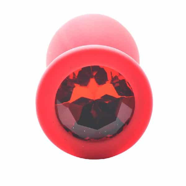 Small Red Jewelled Silicone Butt Plug Jewel Detail