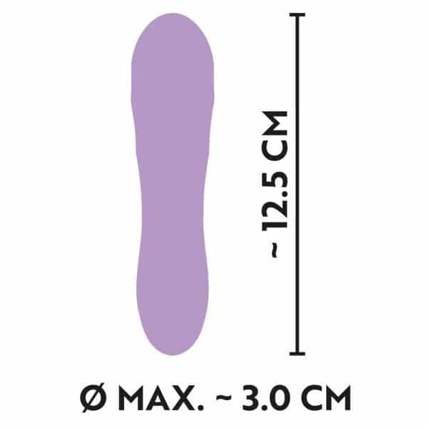 Cuties Silk Touch Rechargeable Mini Vibrator (Purple) dimensions