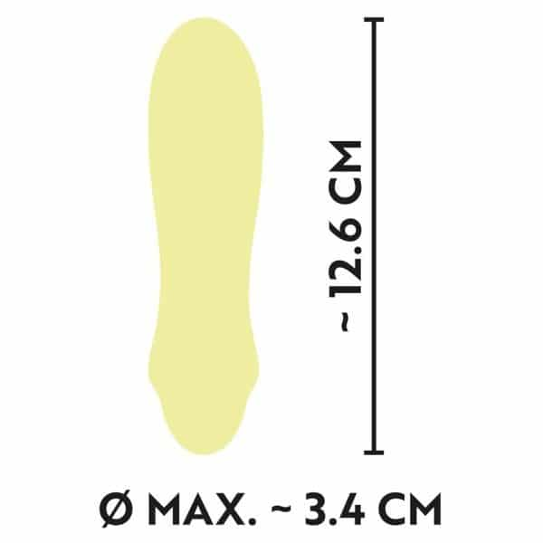 Cuties Silk Touch Rechargeable Mini Vibrator (Yellow) dimensions