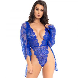 Leg Avenue Floral Lace Teddy and Robe