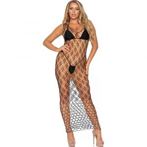 Leg Avenue Hexi Net Maxi Dress Black UK 8 to 14 1