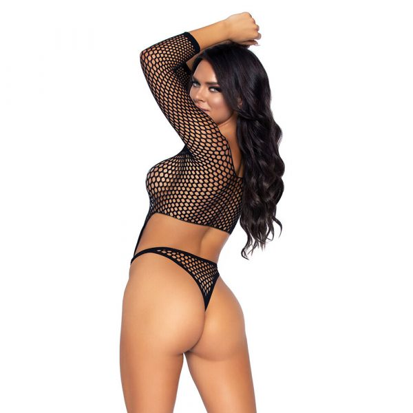 Leg Avenue Top Bodysuit with Thong Black UK 8 to 14 - Back