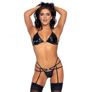 Leg Avenue Vinyl Top and String Set (Black)