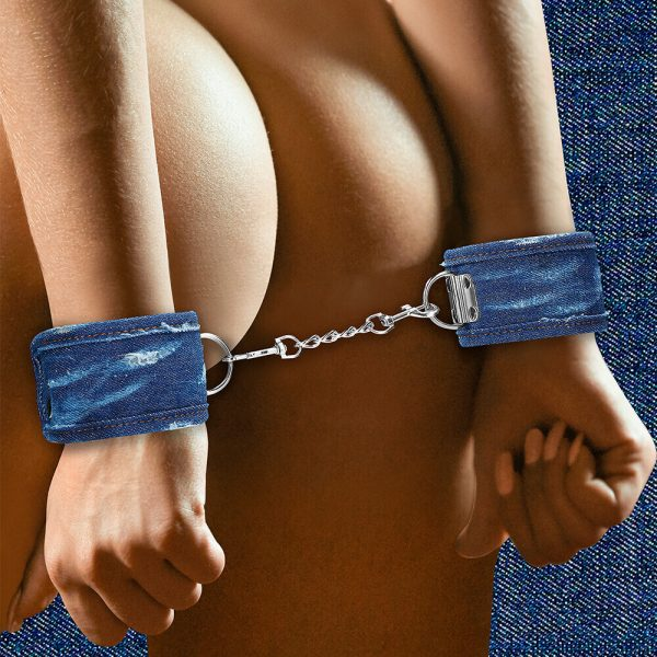 Ouch Tough Denim Style Handcuffs on model