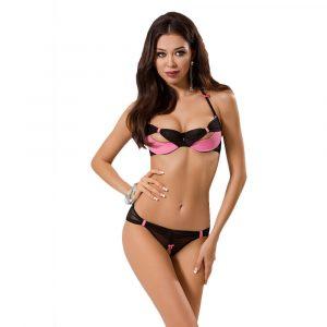 Passion Praline Black And Pink Bra Set